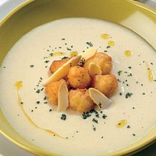 White Asparagus Soup with Parmigiano-reggiano fritters!