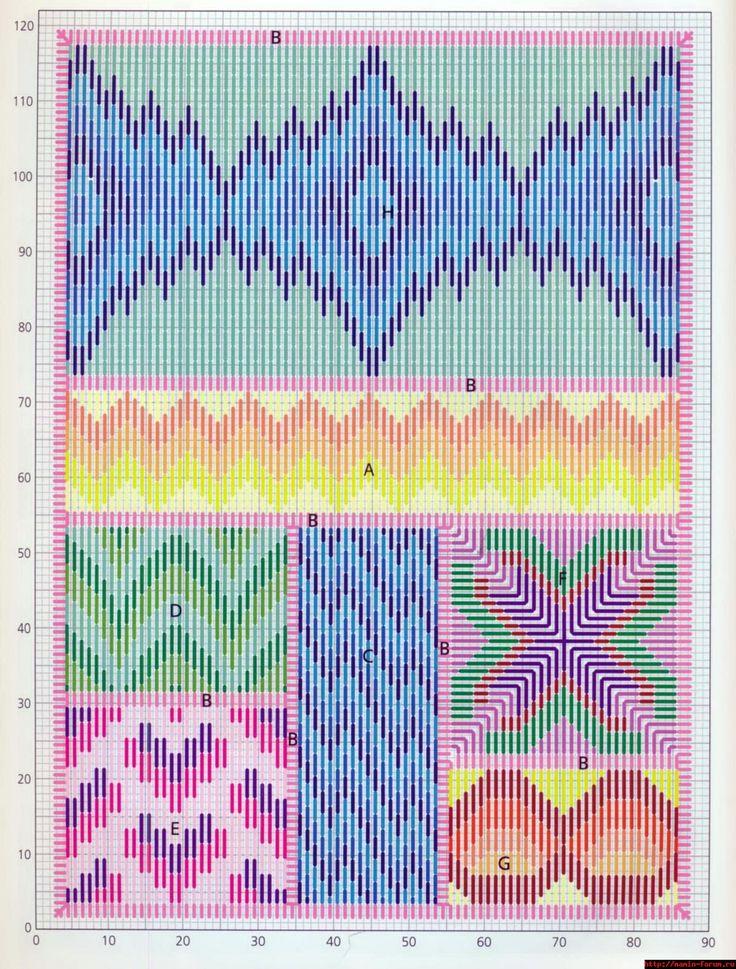 схема, bargello needlepoint sampler