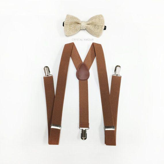 Burlap Bowtie, Nude Bow tie, Brown suspenders, brown suspender, Barn Wedding, for children and adults