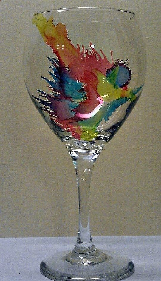 Wine Glasses - alcohol ink on glass 2 More