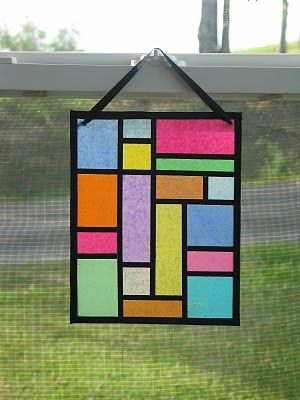 Faux Stained Glass, my students will be doing this tomorrow on plastic page protectors. While studying Chagall's Stained glass :)