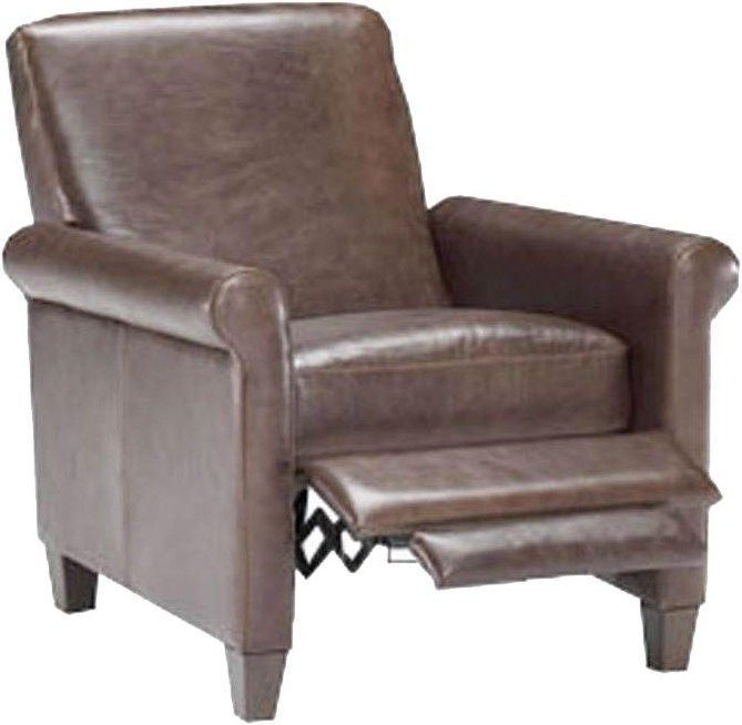 This contemporary recliner makes a wonderful accent chair with the casual comfort of reclining for your living room. Exposed wood tapered feet, streamlined seat back and sleek rolled arms create a modern silhouette. Sit back, relax and recline in style with this recliner chair.