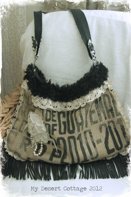 **My Desert Cottage**: art/crafts.. Feedsack purse :)  rustic romance?! leather and lace:) and all the good bits.