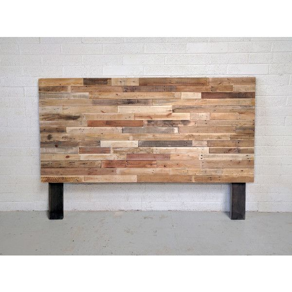 Recycled Pallet Wood Headboard or Bed Custom Reclaimed King Queen Full... ($195) ❤ liked on Polyvore featuring home, furniture, beds, bedroom furniture, beds & headboards, grey, home & living, king size bed, twin wood headboards and wooden king size bed