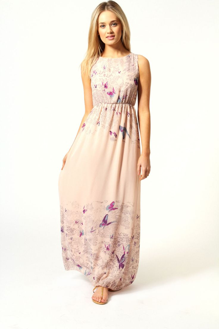 Rachel Tie Back Border Print Butterfly Maxi Dress - I know it has a pattern but I kind of like it?!