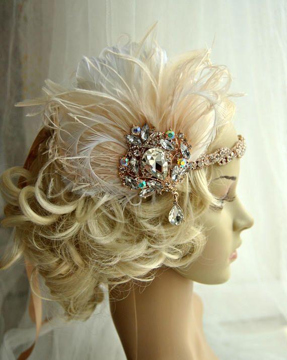 Rose Gold Glamour Rhinestone Flapper 1920s headpiece, Rhinestone Bridal wedding headband rose gold great gatsby headpiece rhinestone flapper