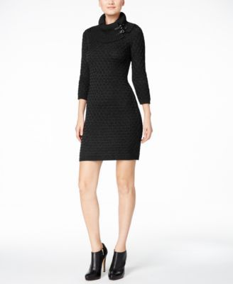 24764851ad Calvin Klein Buckled Cowl-Neck Sweater Dress