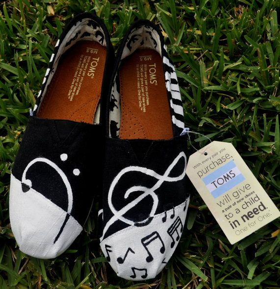 Hand Painted Music TOMS Mens size 95 by TheIndependentSoul on Etsy