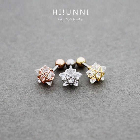 16g Crystal Wire Frame Sterne Ohr Knorpel Stud Ohrring von HiUnni