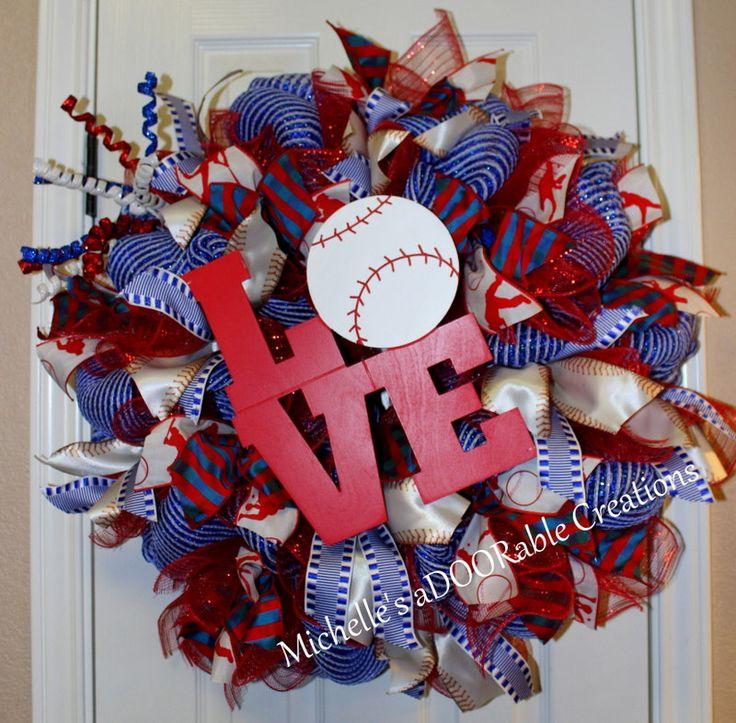 Baseball Wreath, Love Baseball Ranger Theme Wreath, Summer Baseball Wreath by MaDoorableCreations on Etsy