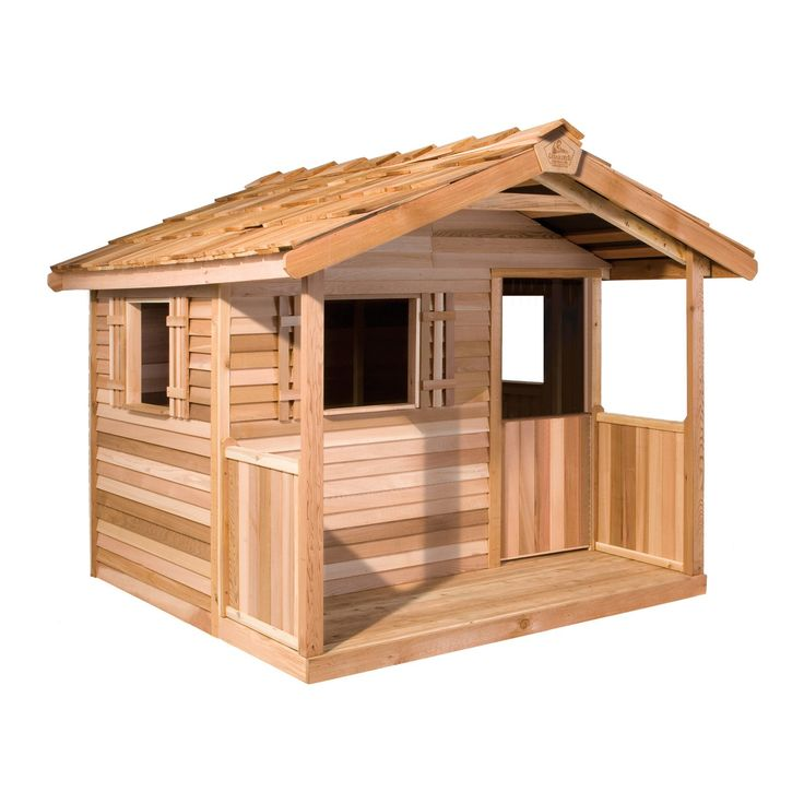Cedar Shed Log Cabin Cedar Playhouse - From the tip top of the shingled roof to the floor of the covered front porch, the Cedar Shed Playhouse is sure to spark your child's imagination and ...