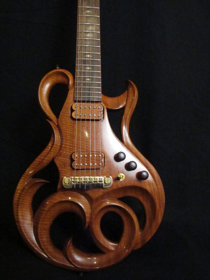 """""""Phoenix Hand Carved Electric Guitar By Rigaud Guitars"""" -- Click through for detailed photos, including some of beautiful inlay work..."""