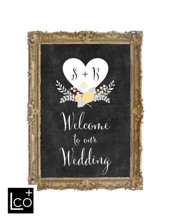 Set the tone with this modern and transitional, personalized and custom Welcome to our Wedding chalkboard print! Select the size of the print in the