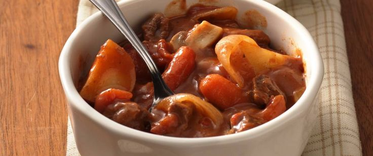 Enjoy a tasty stew made with beef and veggies – perfect for a delightful dinner.