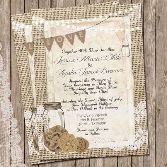 Rustic Burlap and Lace Wedding Invitation, Invite, Mason Jar, Printable, Digital File, Personalized, 5x7,