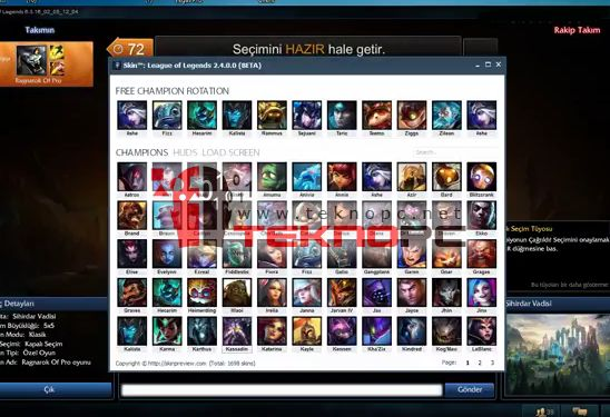 League Of Legends Şampiyon Skin ve Kostüm Hilesi