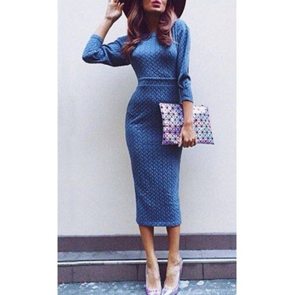 Chic Round Neck 3/4 Sleeve Pure Color Bodycon Women's Dress