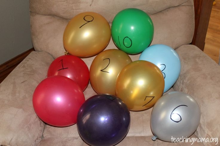 numbered balloons-- hide them around a room or the house and have your child find them. the only stipulation is that they HAVE TO find them in order.  so, if they find 1, then 4, they have to put 4 back and keep searching for 2, then 3, THEN go back for 4.  great for teaching number identification...i see this as a good ending/culminating activity.