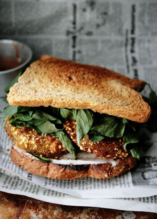 a fried green tomato sandwich. dang. from Notions & Notations of a Novice Cook