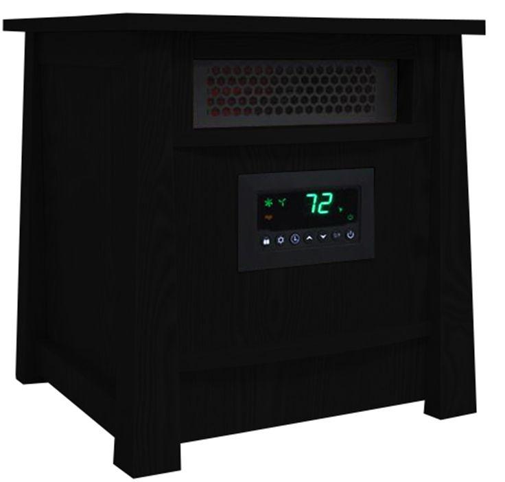 LifeSmart 8 Element Infrared Heater 1500 Watts Wood Cabinet, Black