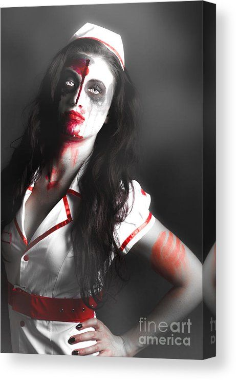A Nurses Revenge Canvas Print featuring the photograph Scary Zombie Nurse With Facial Wounds by Jorgo Photography - Wall Art Gallery