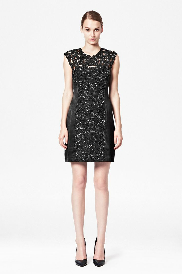 Encrusted Lace Fitted Dress - Sale - French Connection