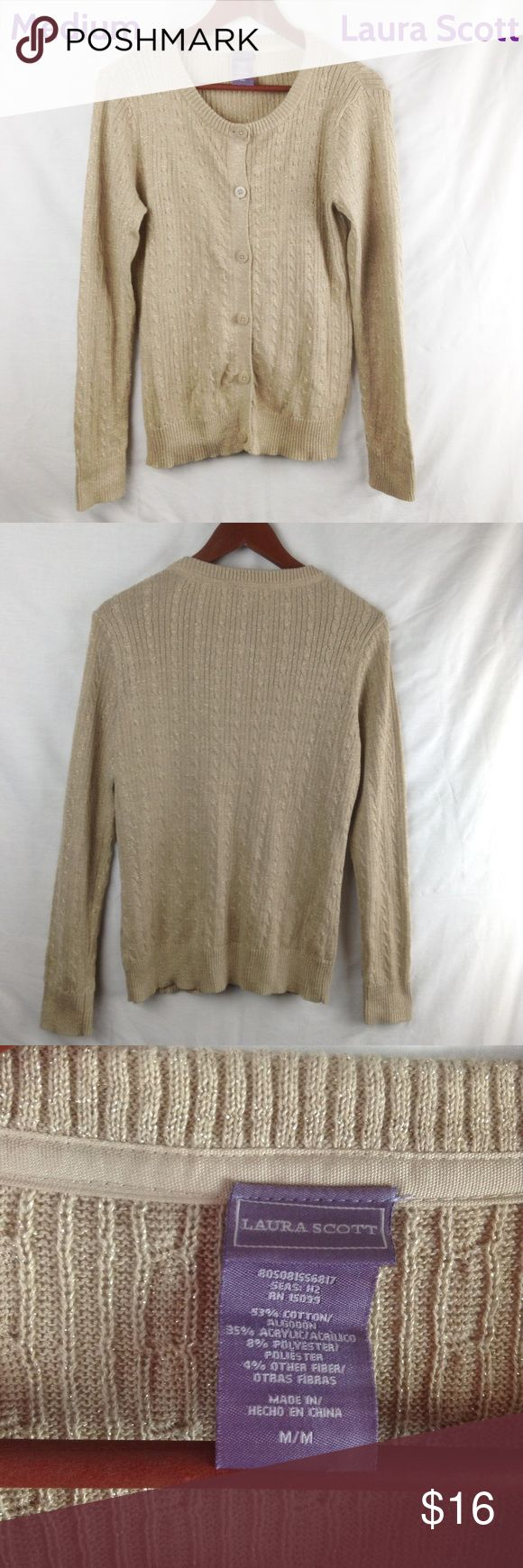 Laura Scott Gold Cardigan This Laura Scott gold cardigan is perfect for the upcoming holidays and all those holiday parties. It is in like new condition and as always all of the clothing from my closet comes from a pet free and smoke free home. Laura Scott Sweaters Cardigans