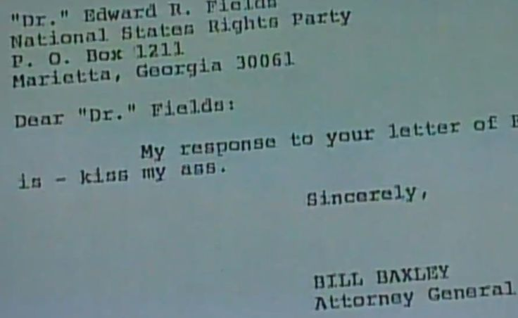 Alabama Attorney General Bill Baxley's official response to a letter urging him not to prosecute Ku Klux Klan members who bombed a church that killed four black girls in 1976