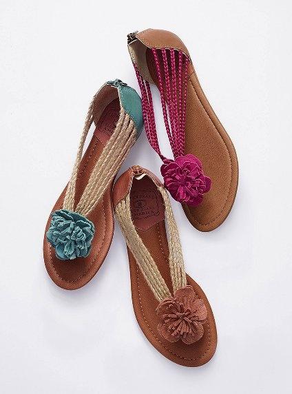 Flower thong sandals.