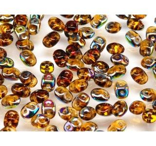 20gr Czech Two-Hole Seed Beads SuperDuo 2.5x5mm TOPAZ VITRAIL