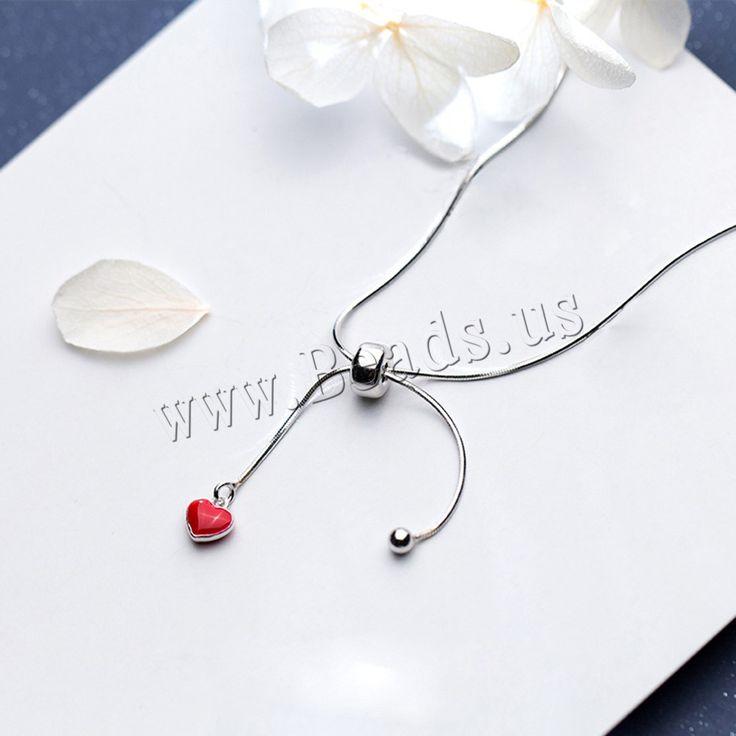 Collares de Plata Esterlina, plata de ley 925, con 1.5lnch extender cadena, Corazón, cadena de la serpiente   para mujer   esmalte, 6mm, 3mm, Vendido para aproximado 16.5 Inch Sarta,Abalorios de joyería por mayor de China