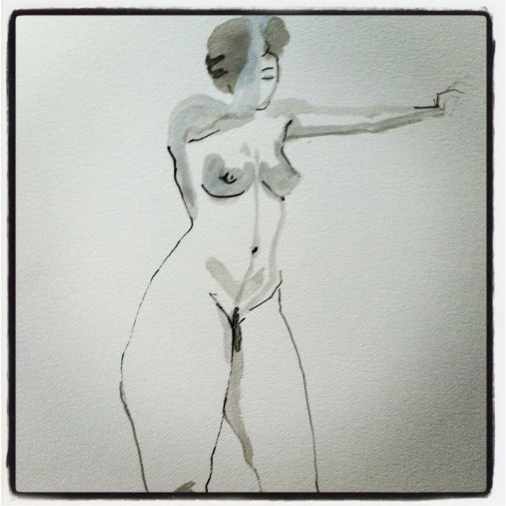 Nu, croquis à l'encre.  Nude, ink sketch.