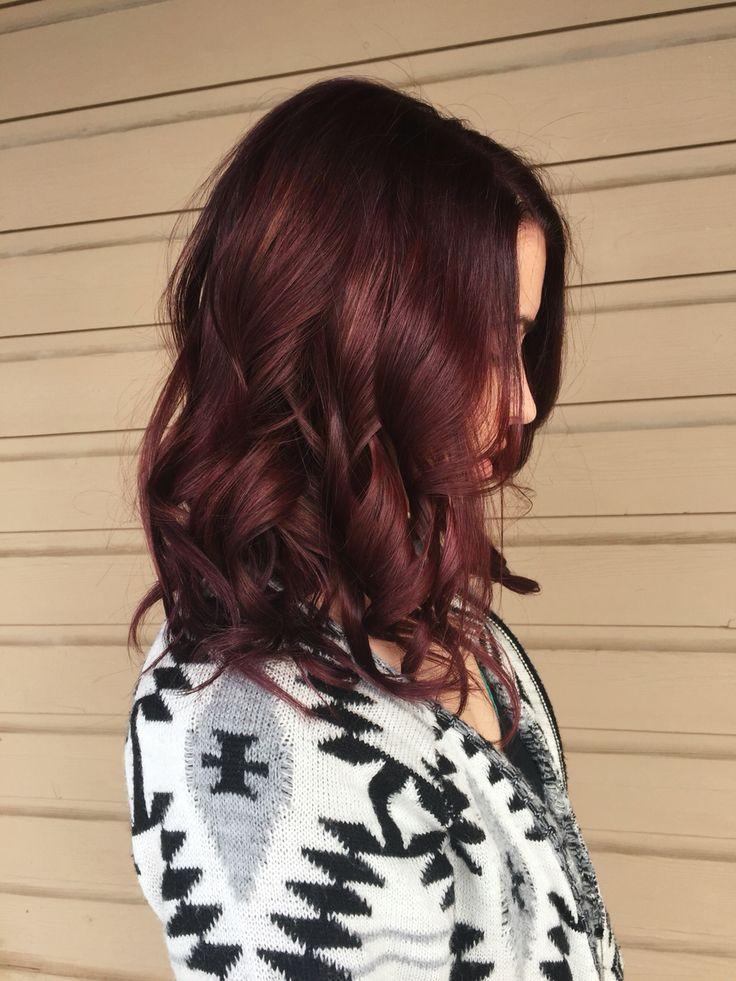 Red violet hair burgundy hair. @kjb_hair #impressionsmke