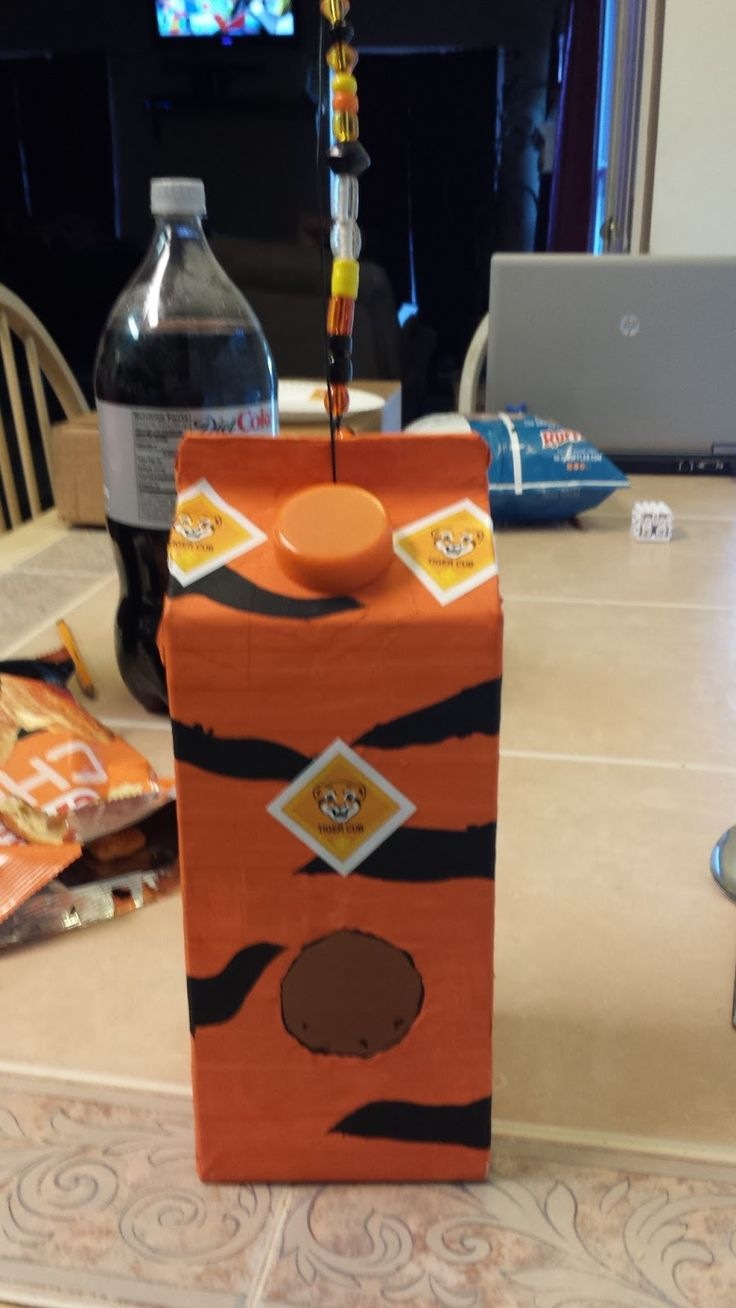 Cub Scouts- starting with Tigers 2015: Cub Scout Crafts- Birdhouse out of a carton!