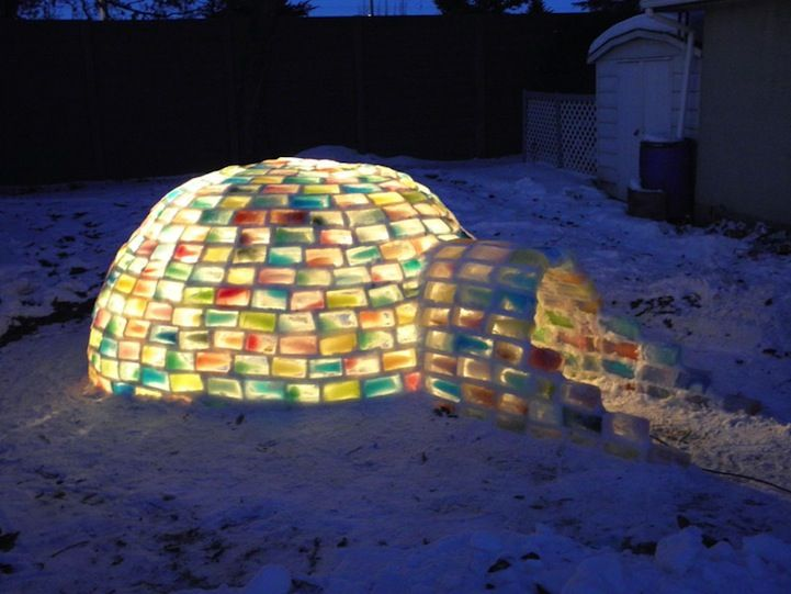 Rainbow igloo created with recycled milk cartons - right here in E-town!