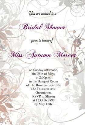 """Floral Bridal shower"" printable invitation. Customize, add text and photos. print for free!"