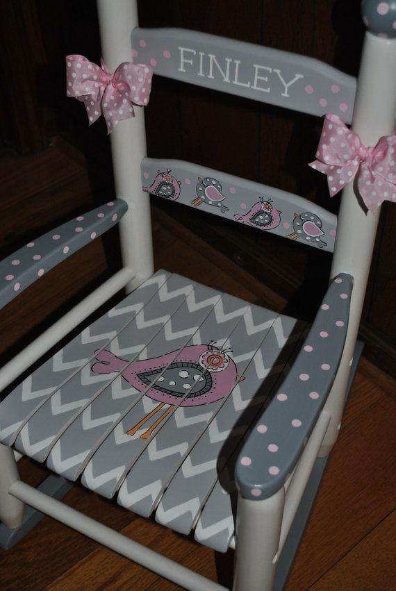 New For 2016-Children's-Custom Hand Painted-New Birdie Pink/Grey Chevron-Girls Rocking Chair-Baby Shower-Nursery Furniture-Baby Gift