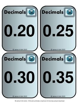 Decimals and Fractions style flash cards to print and laminate