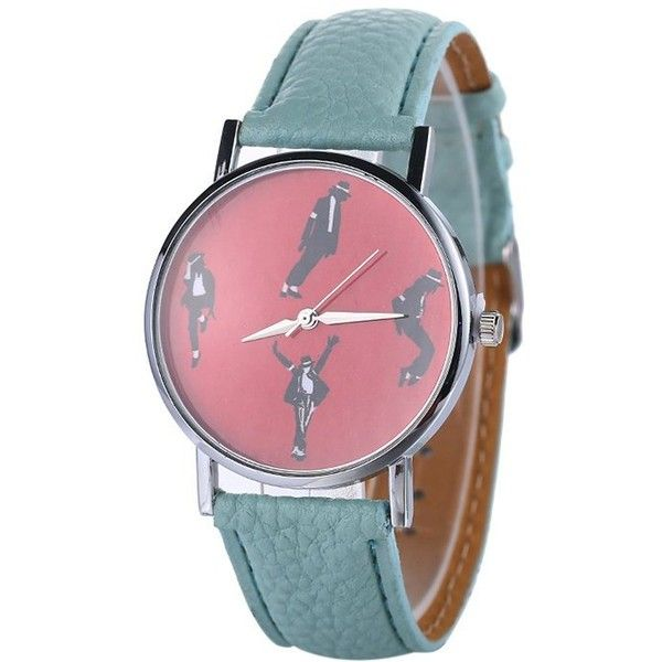 Michael Jackson Pattern Faux Leather Watch ❤ liked on Polyvore featuring jewelry, watches, mint watches, mint green jewelry, vegan watches, faux leather watches and mint jewelry