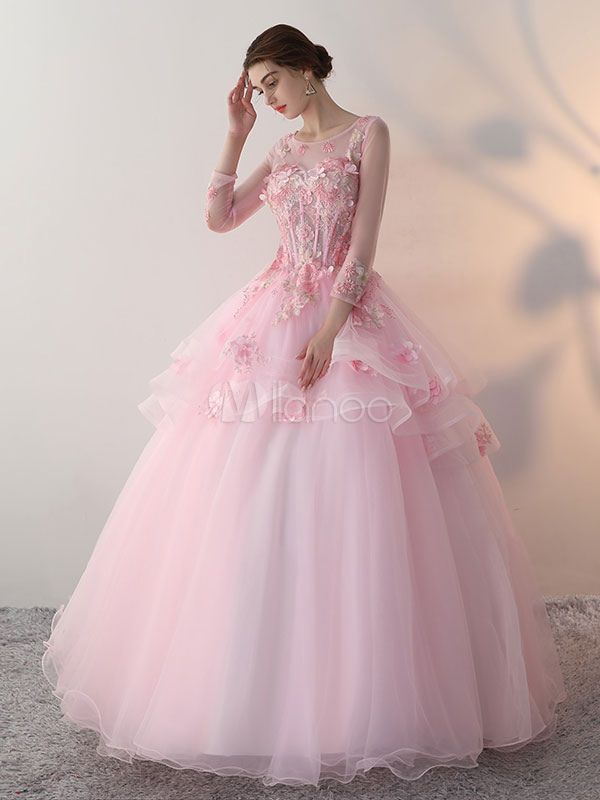 fec08326f9 Princess Quinceanera Dresses Soft Pink Flowers Applique Ball Gowns Keyhole  Illusion Sweetheart Boned Tulle Floor Length Long Sleeve Pageant Dresses -No.1