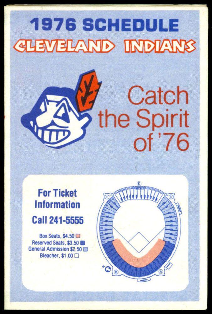 1976 CLEVELAND INDIANS FOREST CITY CATCH THE SPIRIT BASEBALL POCKET SCHEDULE #Schedule
