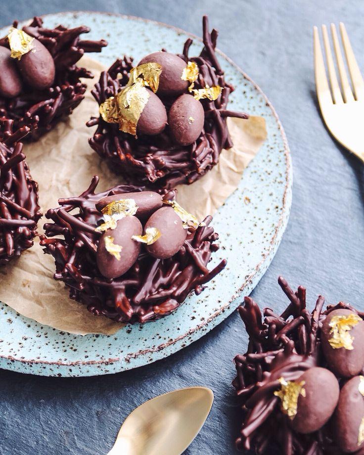 vegan chocolate easter egg nests