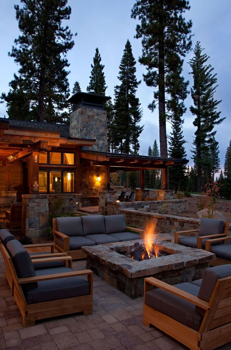 California rustic home fire pit - Want as part of the outdoor space in timberframe house