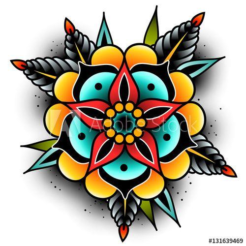 Old school tattoo flower – Lizenzfreie Vektorgrafiken kaufen und entdecken …   – Cool tattoos