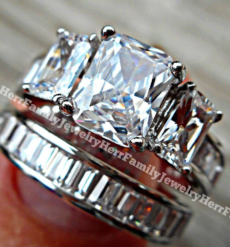 #Weddings #WeddingRings #Bridal #Engagement #Anniversary #Jewelry #Gift  925 Sterling Silver Rhodium Simulated Diamond Engagement Ring Wedding Set Womens
