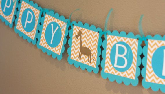 Birthday or Baby Shower Giraffe or Lion, Elephant Jungle Zoo Animal Orange Blue Chevron Banner - Toppers, Favor Tags & Door Sign Available on Etsy, $28.00