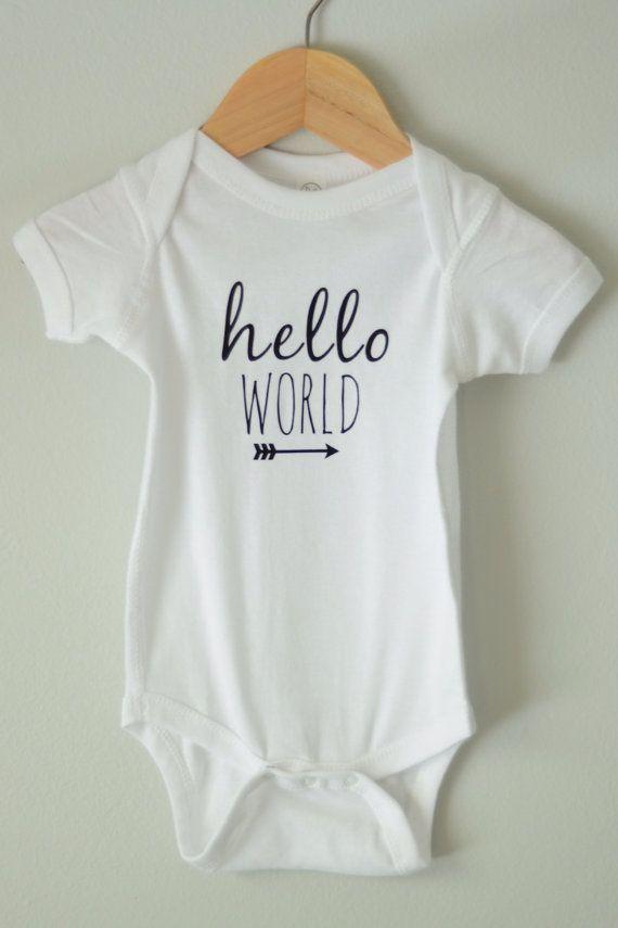 Hello World Baby Bodysuit Newborn Onesie by SimplyThreadsUSA