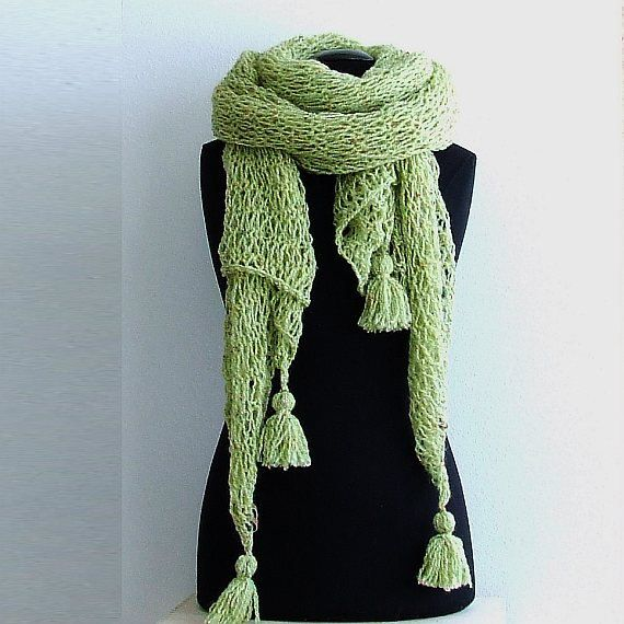 Pastel Green Shawl Scarf Open Air Boho Style Wrap Womens Gift, Hand Knit Long Summer Scarf Hippy Style Extra Long Scarf Oversized Scarf by AJatelier on Etsy