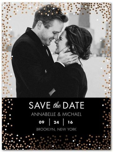 Winter Sprinkle Foil | Enhance your save the date announcement with whimsical foil colors from #RoseGold to silver shimmer.