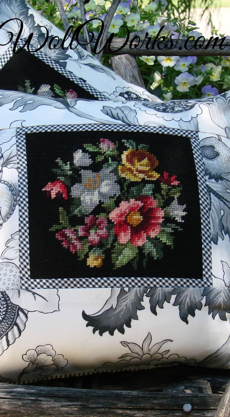 Black and White Toile + salvage needlepoint pillow slip at WollWorks.com
